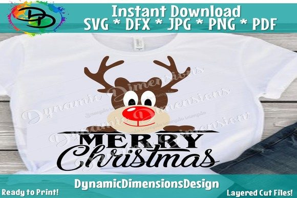 Reindeer Svg, Peeking Reindeer Graphic By dynamicdimensions