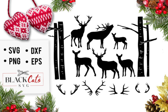 Deer Illustrations  Graphic Crafts By BlackCatsMedia