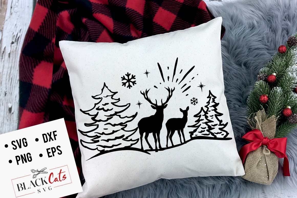 Download Free Deer In The Snow Svg Graphic By Blackcatsmedia Creative Fabrica for Cricut Explore, Silhouette and other cutting machines.