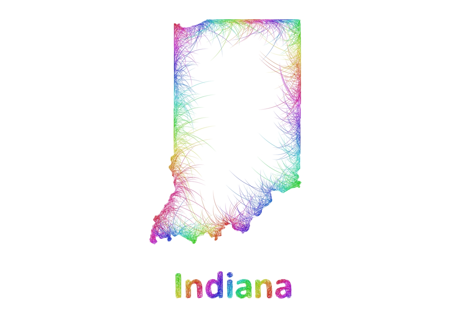 Download Free Rainbow Sketch Indiana Map Graphic By Davidzydd Creative Fabrica for Cricut Explore, Silhouette and other cutting machines.