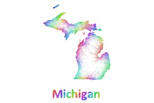 Rainbow Sketch Michigan Map Gráfico Ilustraciones Por davidzydd