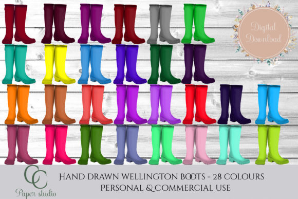 28 Coloured Wellies Graphic By CC Paper Studio
