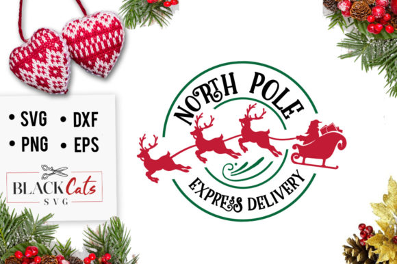 Download Free North Pole Christmas Express Svg Graphic By Blackcatsmedia for Cricut Explore, Silhouette and other cutting machines.