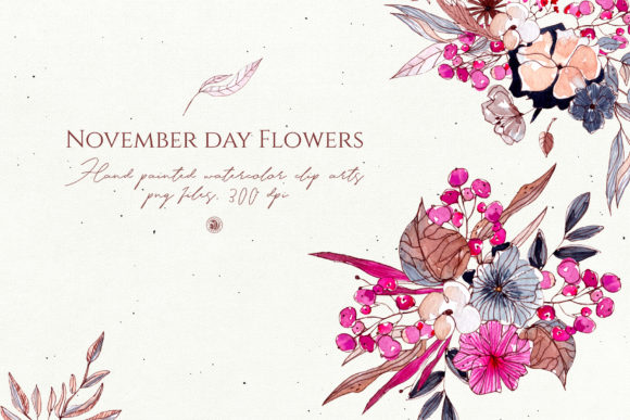 Print on Demand: November Day Flowers Graphic Illustrations By webvilla