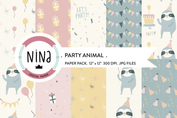 Party Animal Digital Paper Confetti Graphic By Nina Prints