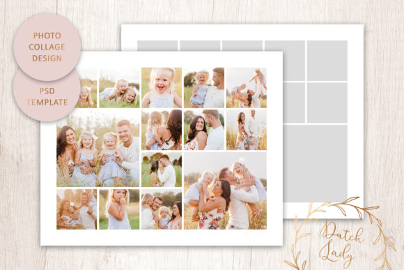 Print on Demand: PSD Photo & Image Collage Template #1 Graphic Print Templates By daphnepopuliers