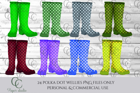 Print on Demand: Polka Dot Wellie Boots Graphic Illustrations By CC Paper Studio - Image 2