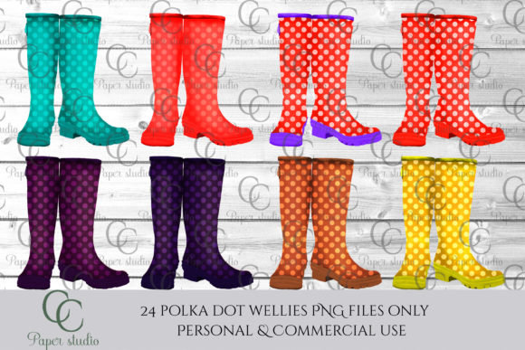 Print on Demand: Polka Dot Wellie Boots Graphic Illustrations By CC Paper Studio - Image 3