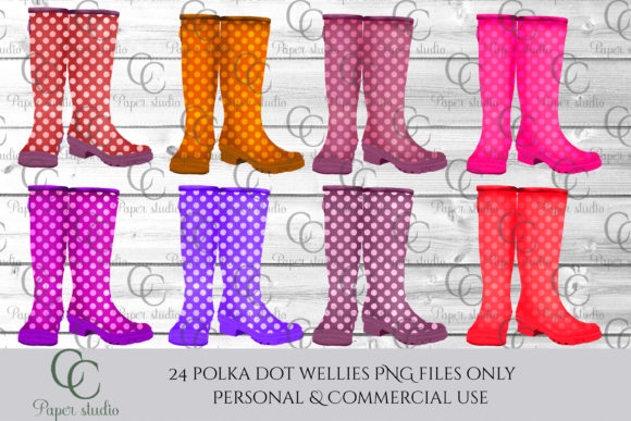 Print on Demand: Polka Dot Wellie Boots Graphic Illustrations By CC Paper Studio - Image 4