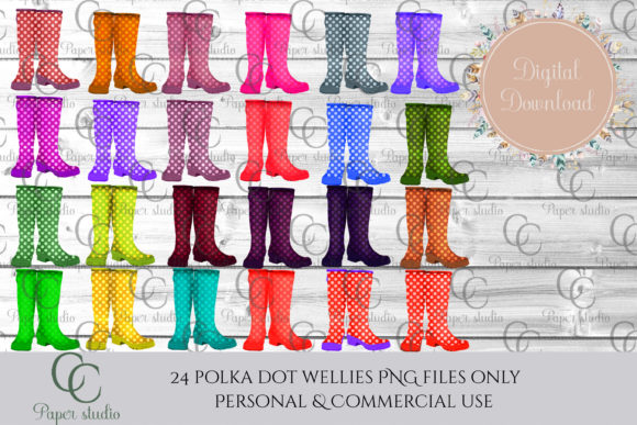 Print on Demand: Polka Dot Wellie Boots Graphic Illustrations By CC Paper Studio - Image 1