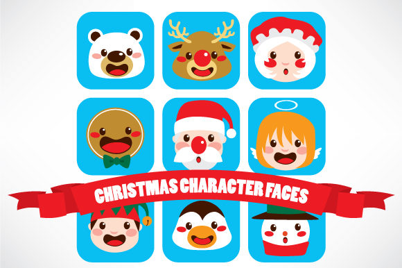 Christmas Character Faces Graphic Illustrations By Kakigori Studio