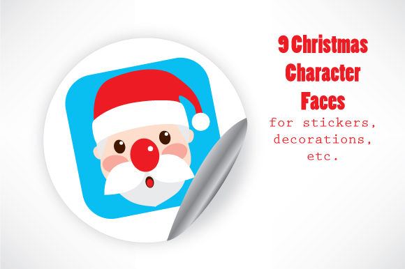 Download Free Christmas Character Faces Graphic By Kakigori Studio Creative for Cricut Explore, Silhouette and other cutting machines.