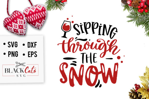 Sipping Through the Snow SVG Graphic Crafts By BlackCatsMedia