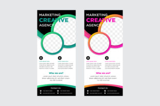 Vertical Banner Circle Green Pink Graphic By noory.shopper