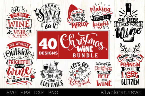 Christmas Wine Bundle SVG 40 Designs Gráfico Por BlackCatsMedia