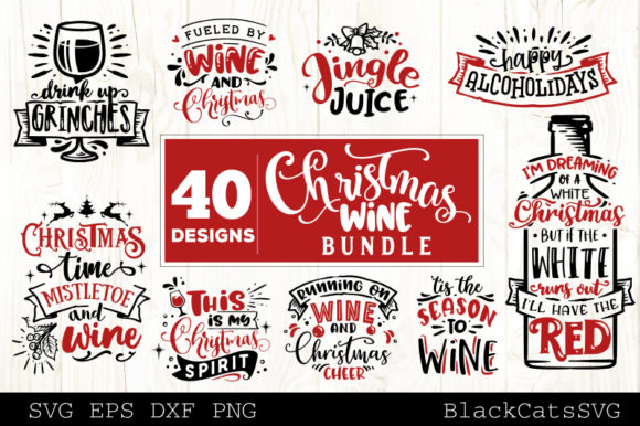 Download Free Christmas Wine Bundle Svg 40 Designs Graphic By Blackcatsmedia for Cricut Explore, Silhouette and other cutting machines.