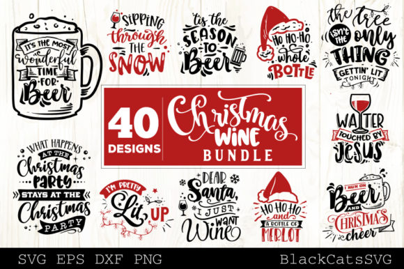 Download Free Christmas Wine Bundle Svg 40 Designs Graphic By Blackcatsmedia SVG Cut Files