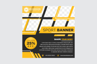 Yellow Black Mosaic Banner Square Graphic By noory.shopper