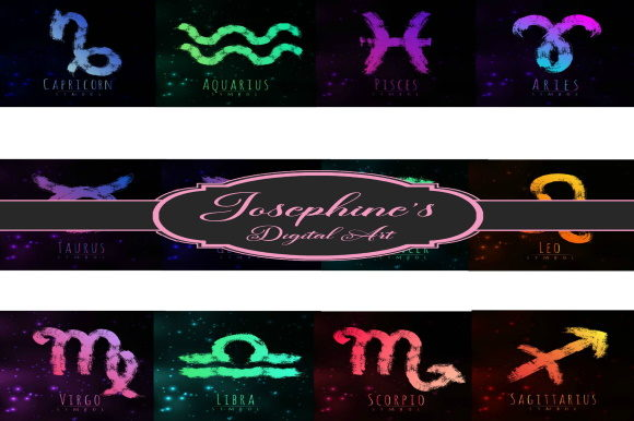 Print on Demand: Zodiac Astrology Design Digital Images Graphic Backgrounds By Josephine's Digital Art