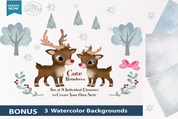 Print on Demand: Watercolor Reindeer Boy and Girl Clipart Graphic Illustrations By adlydigital - Image 1
