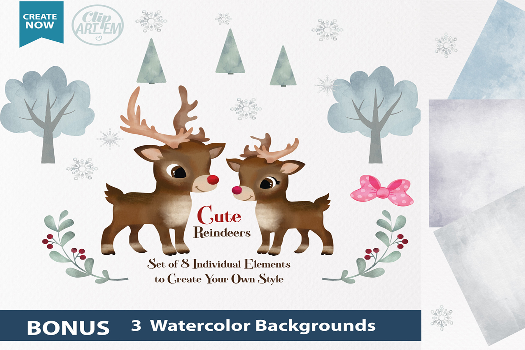 Download Free Watercolor Reindeer Boy And Girl Clipart Graphic By Adlydigital for Cricut Explore, Silhouette and other cutting machines.