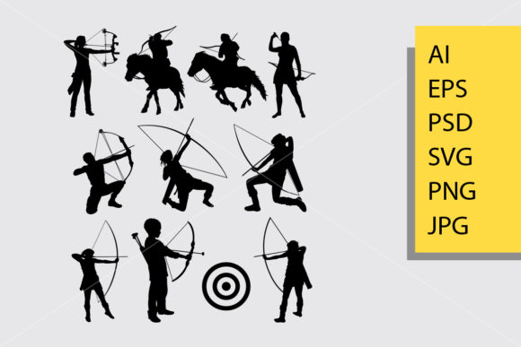 Archery Sport Silhouette Graphic Illustrations By Cove703 - Image 1