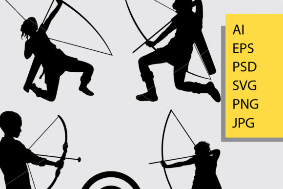 Archery Sport Silhouette Graphic Illustrations By Cove703 - Image 2