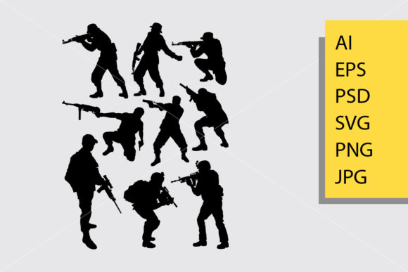 Download Free Army Pose Silhouette Graphic By Cove703 Creative Fabrica for Cricut Explore, Silhouette and other cutting machines.