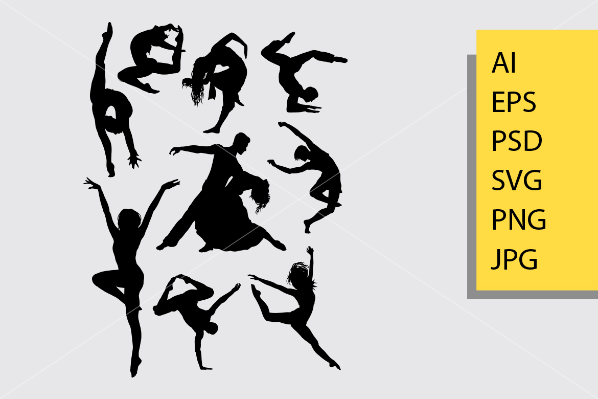 Download Free Contemporary Dance Silhouette Graphic By Cove703 Creative Fabrica for Cricut Explore, Silhouette and other cutting machines.