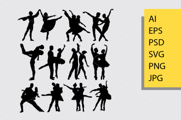 Download Free Couple Ballet Dance Silhouette Graphic By Cove703 Creative Fabrica for Cricut Explore, Silhouette and other cutting machines.
