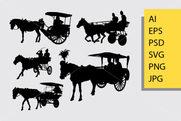 Horse Carriage Silhouette Graphic Illustrations By Cove703 - Image 1