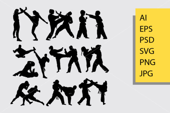 Fighting Silhouette Graphic By Cove703