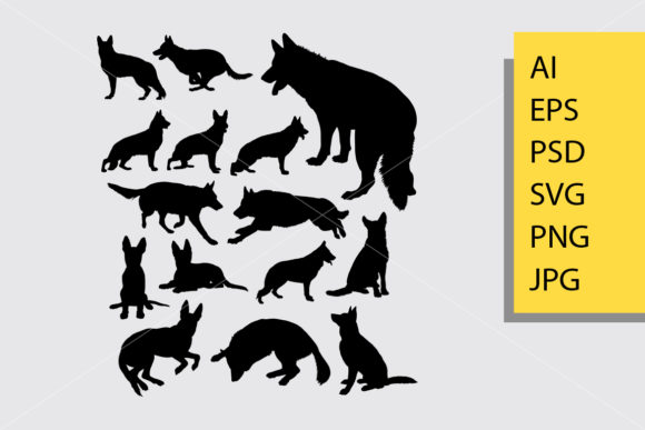 German Shepherd Dog Silhouette Graphic Illustrations By Cove703