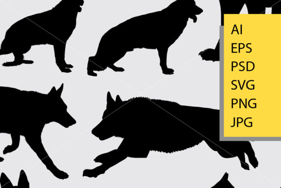 German Shepherd Dog Silhouette Graphic Illustrations By Cove703 - Image 2