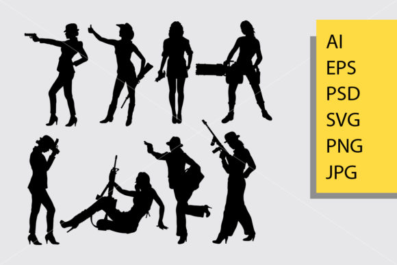 Girl with Weapon Silhouette Graphic By Cove703