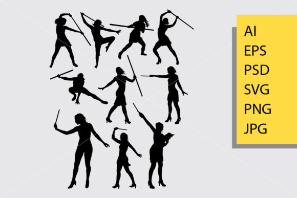 Girl with Stick Silhouette Graphic By Cove703