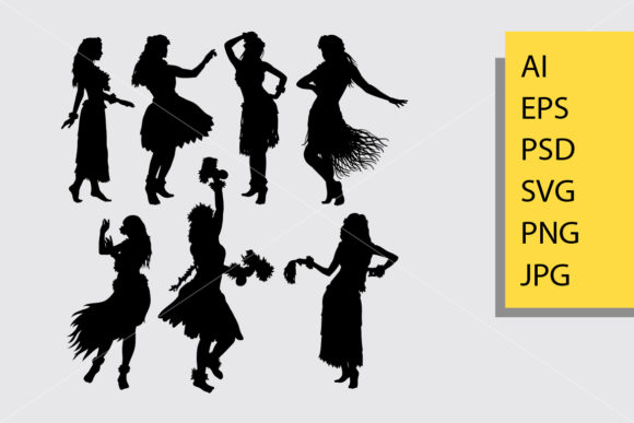 Hula Girl Dancer Silhouette Graphic Illustrations By Cove703 - Image 1