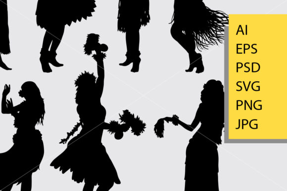 Hula Girl Dancer Silhouette Graphic Illustrations By Cove703 - Image 2