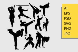 Karate Sport Silhouette Graphic Illustrations By Cove703