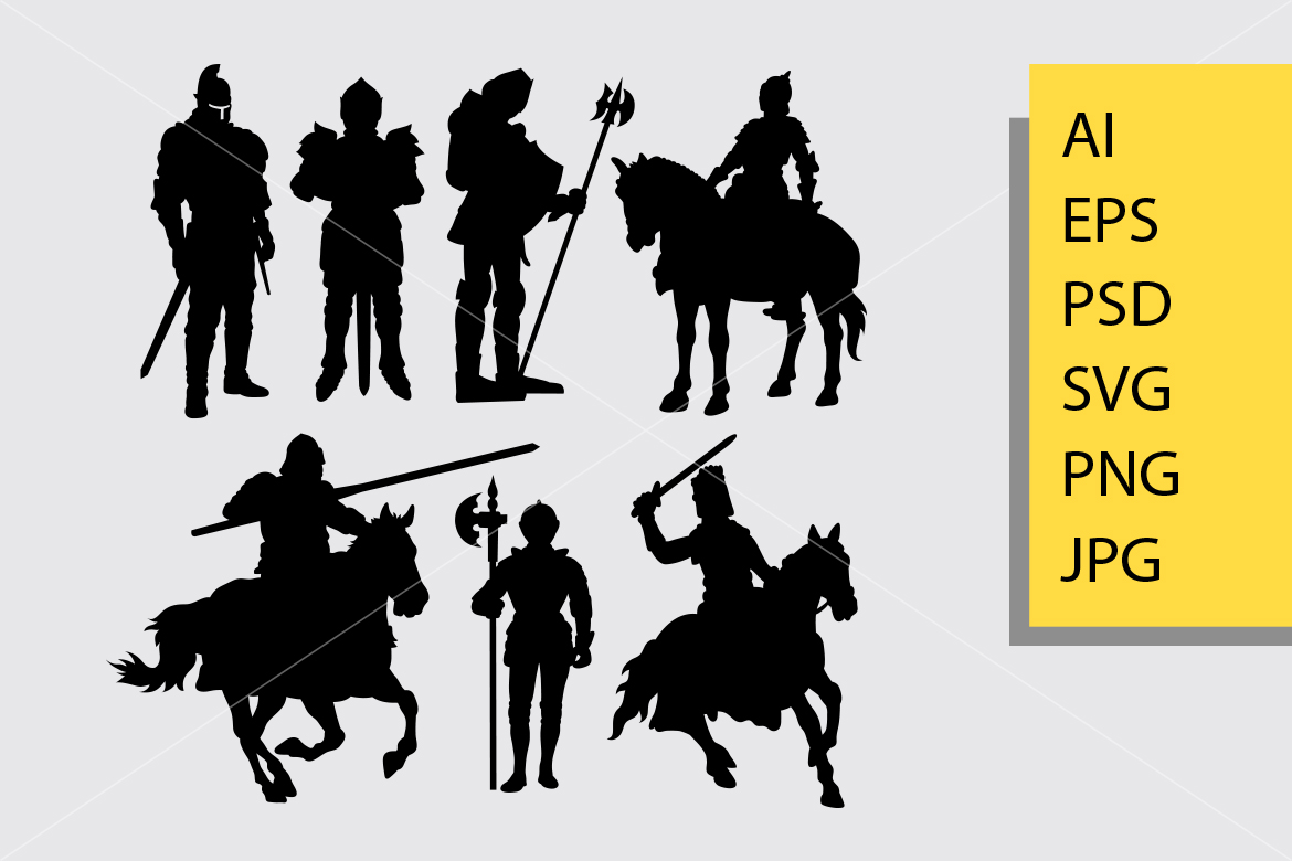 Download Free Knight Warrior Silhouette Graphic By Cove703 Creative Fabrica for Cricut Explore, Silhouette and other cutting machines.