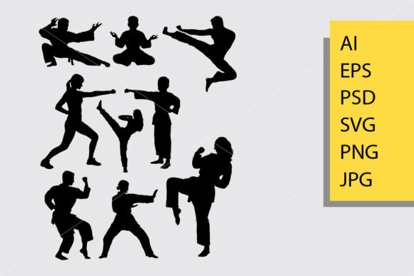 Martial Art Silhouette Graphic By Cove703