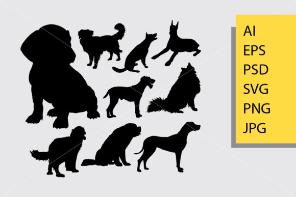 Puppy and Dog Silhouette Graphic Illustrations By Cove703
