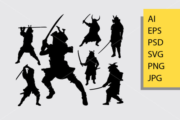Japanese Samurai Silhouette Graphic Illustrations By Cove703