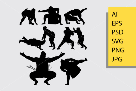 Sumo Sport Silhouette Graphic Illustrations By Cove703
