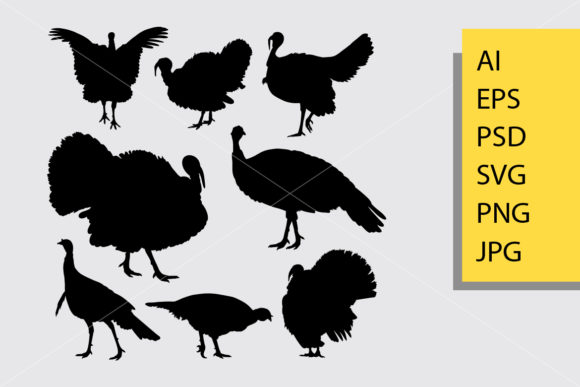 Download Free Turkey Bird Animal Silhouette Graphic By Cove703 Creative Fabrica for Cricut Explore, Silhouette and other cutting machines.