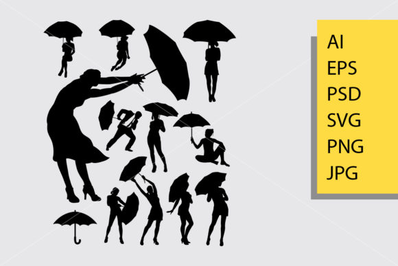 People with Umbrella Silhouette Graphic By Cove703