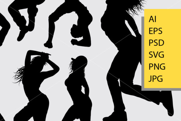 Download Free Women Dance Silhouette Graphic By Cove703 Creative Fabrica for Cricut Explore, Silhouette and other cutting machines.