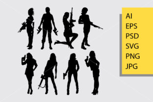 Women with Gun Silhouette Graphic Illustrations By Cove703