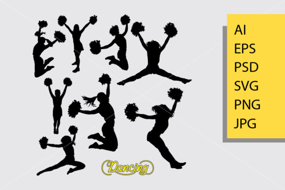 Cheerleader 2 Silhouette Graphic By Cove703