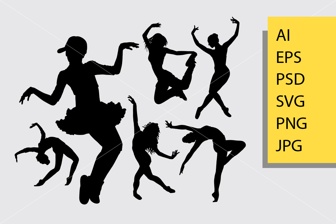 Download Free Cool Dancing 2 Silhouette Graphic By Cove703 Creative Fabrica for Cricut Explore, Silhouette and other cutting machines.